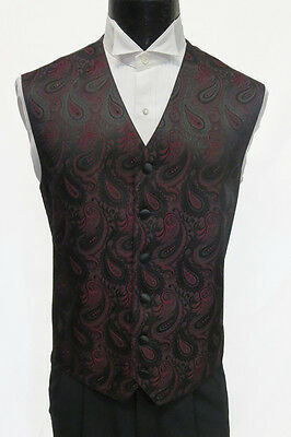 Mens Burgundy Paisley Pattern Tuxedo Fullback Vest Wedding Medium