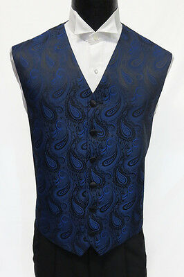 Mens Royal Blue Paisley Pattern Tuxedo Fullback Vest Wedding Medium