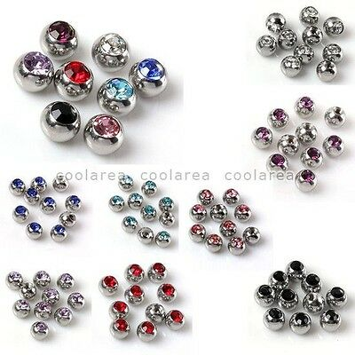 10x Pick Czech Crystal Ball Top Bead Stainless Steel Accessory For Body Piercing