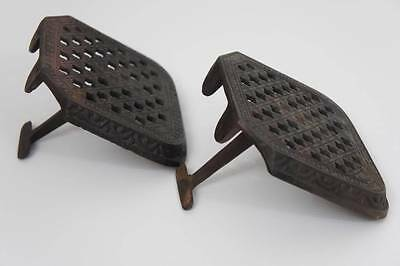 Pair of Victorian no 19, Iron, hanging, fireside trivets - adjustable -VGC