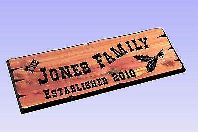 Personalized Custom Carved Cedar Wood Sign - Last Name Rustic Plaque Western 110