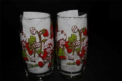 Vintage Strawberry Shortcake two Glasses 5 7/8 inch American Greeting