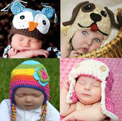 New Baby Boy Girl Crochet Beanie Costume Hat 0-6 6-12Mnths 1-3 3-8Yrs Photo Prop