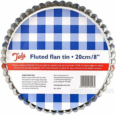 "Tala 20Cm / 8"" Loose Bottom Fluted Flan Pie Cooking Quiche Baking Tin"
