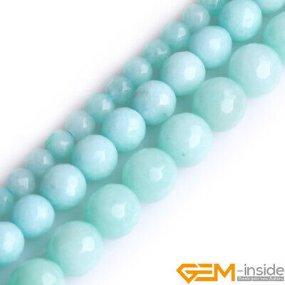 """Sky Blue Jade Gemstone Faceted Round Beads For Jewelry Making 15"""" 4mm 6mm 8mm"""