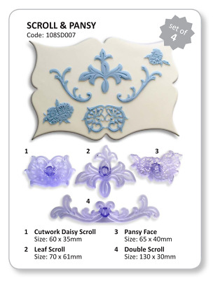 JEM Set of 4 SCROLL & PANSY Border & Design Cutters Icing Sugarcraft Cake Decor