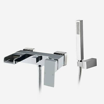 Ozone Waterfall Solid Brass Square Wall Mounted Chome Bath Shower Mixer Tap