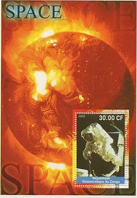 Space Travel Astronaut Man On Moon 2002 Congo Mnh Stamp Sheetlet