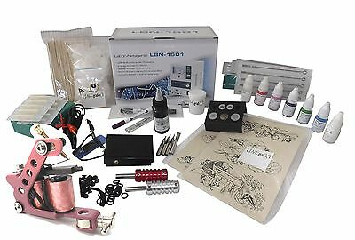 INKgrafiX® LADY GIRL  TATTOO KOMPLETTSET Tattoomaschine Rosa SET XL PROFI Damen