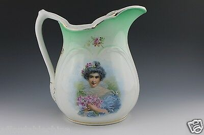 East End China Company Decorative Portrait Iced Water Pitcher Liverpool, Ohio