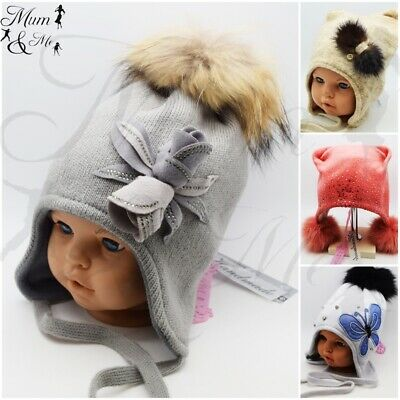 New Cute Girls Kids Hats Autumn Winter Cap Warm Lace Up Warmer Beanie Real Fur