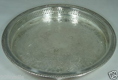 VINTAGE ROUND SILVER PLATE TRAY,PIERCED RIMS,ROGERS,12""