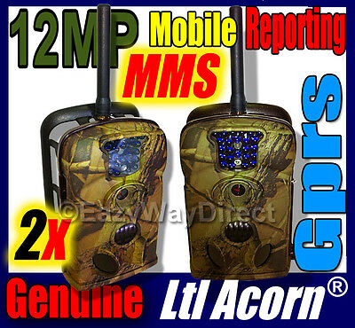 2 x Ltl Acorn Camo 5210M 5210MM 12MP MMS Trail Scouting Hunting Camera +4GB SD