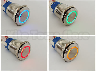 19mm 12V Angel Eye Led Stainless PushButton Switch Waterproof Latching/Momentary