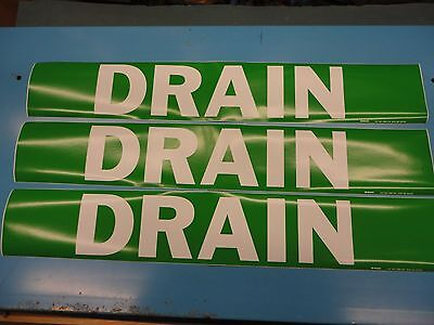 "3 Count, ""DRAIN"", 4"" x 24"" Brady Sticker Decal, Vinyl Pipe Marker 7090-1HV"