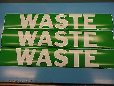 "3 Count, ""WASTE"", 4"" x 24"" Brady Sticker Decal, Vinyl Pipe Marker 7299-1HV"