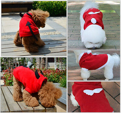 New Pet Dog Cat Cute Angel&Devil Clothes Coat Apparel Puppy Hoodie Fancy Outfit