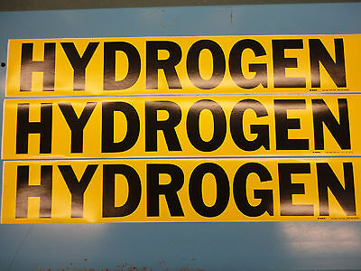 "3 Count, ""HYDROGEN"", 4"" x 24"" Brady Decal Sticker, Vinyl Pipe Marker 7157-1HV"