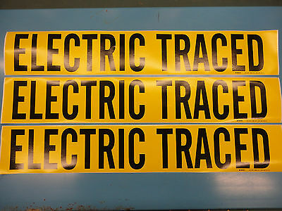 "3 Count, ""ELECTRIC TRACED"", 4"" x 24"" Brady Decal , Vinyl Pipe Marker 7096-1HV"