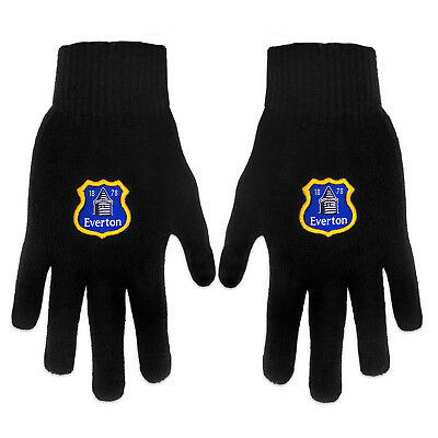 Everton FC Official Football Gift Adults Knitted Gloves Black