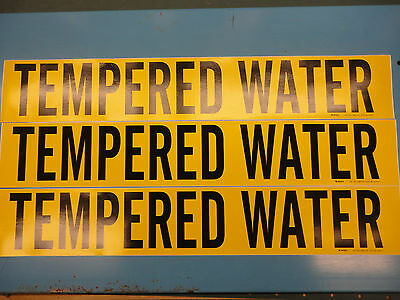 "3 Count, ""Tempered Water"", 4"" x 24"" Decal Sticker, Vinyl Pipe Marker 7283-1HV"