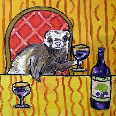 4x4  FERRET WINE glass art tile coaster gift JSCHMETZ modern folk new
