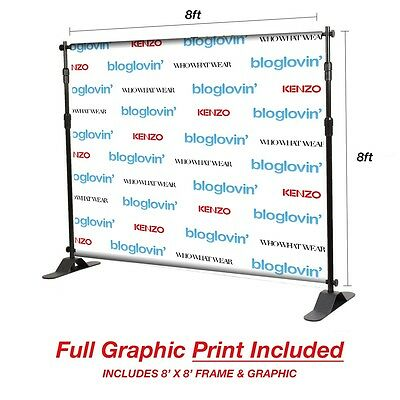 8'x8' Step and Repeat Backdrop  - Fabric Print and Carry Bag INCLUDED!!!!