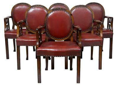 Set Of 6 Early 20Th Century Mahogany And Leather Open Armchairs