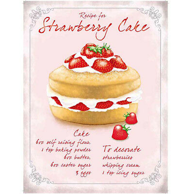Strawberry Cake Recipe Metal Sign Vintage Style Bakery Kitchen Decor 12 x 16