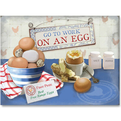 Go to Work on an Egg Boiled Metal Sign Vintage Style Kitchen Decor 16 x 12