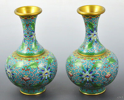 Pair of Vibrant Chinese Cloisonné Vases, Turquoise, Green, Blue, Red, Gold