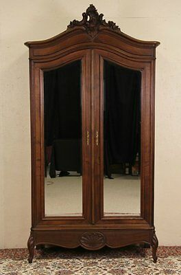 Country French Carved 1900 Antique Armoire or Wardrobe, Secret Drawer
