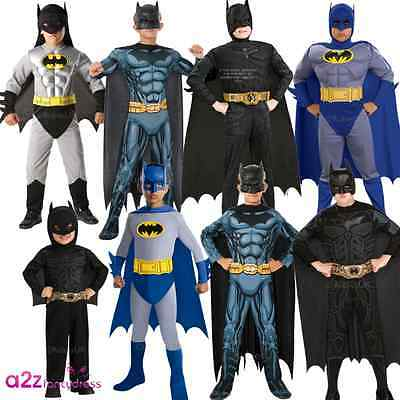 Boys Batman Dark Knight Superhero Muscle Chest Kids Licensed Fancy Dress Costume