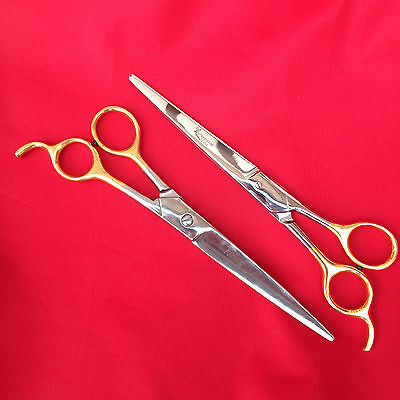 "2 Professional Pet Grooming Barber Scissors Curved 7.5 "" 19 cm Scissor clippers"