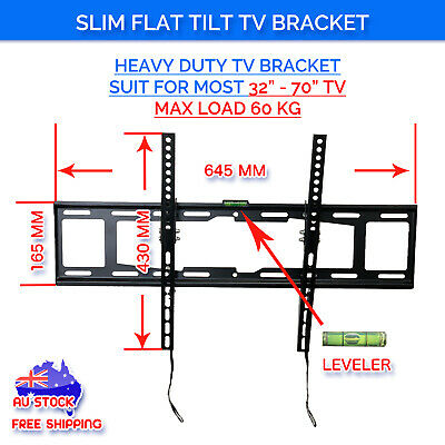 Tilt LCD LED Plasma Slim Flat TV Wall Mount Bracket 37 40 42 46 50 55 60 65 70