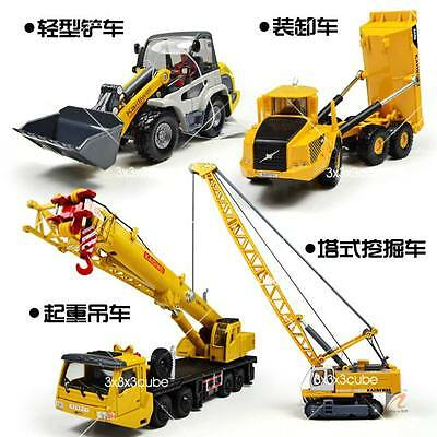 4x 1:87 Construction Vehicle Metal Model Shovel Truck Crane Car Tower Value Pack
