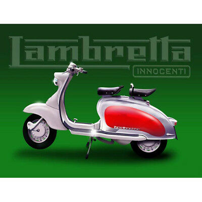 Innocenti Lambretta Motor Scooter Steel Sign Vintage Green Metal Wall Decor