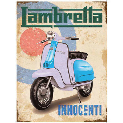 Innocenti Lambretta Motor Scooter Steel Sign Vintage Mod Bullseye Wall Decor