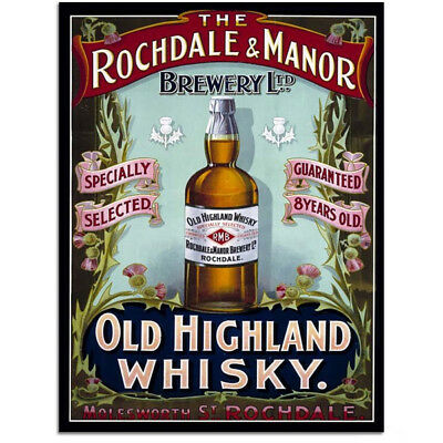 Old Highland Whisky Rochdale Manor Steel Sign Vintage Bar Decor 12x16