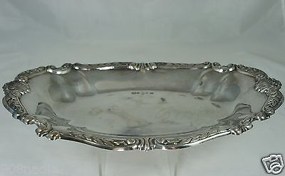 VINTAGE SILVER PLATE SMALL OVAL TRAY/ PLATTER ORNATE RIMS WHEAT & SHELL