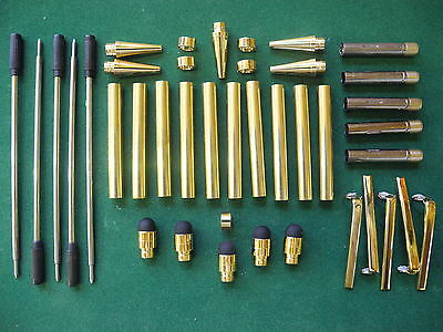 Woodturning SLIMLINE Pen Kits in Gold with Black Soft Touch Stylus
