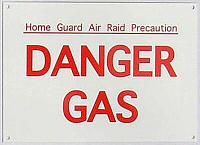 Home Guard Danger Gas enamelled steel wall sign  180mm x 130mm  (dp)