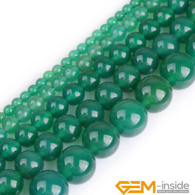 "Natural Green Agate Gemstone Round Beads For Jewelry Making 15"" 4mm 6mm 8mm 10mm"