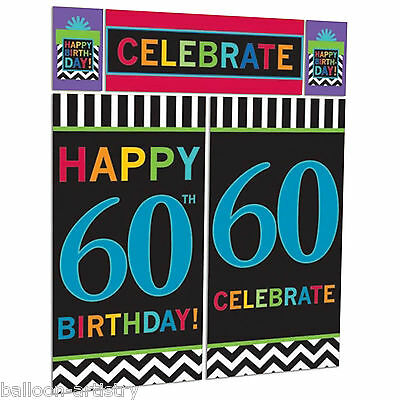 Celebration Happy 60th Birthday Party Scene Setter Wall Decorating Kit