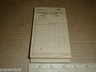 Vintage 1950s Tomlinson Grocery Co Super Market Thomasville NC Cashier Book Pad