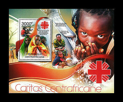 Central African Stamp, 2012 CAR INT1229B Red Cross Caritas RCA est active