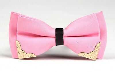 HIGH QUALITY Men Vintage Wedding Metal Leather Formal Pre-Tied Bow Tie Pink
