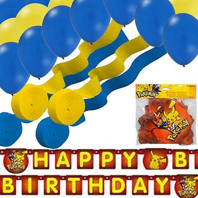 Pokemon Banner - 2 Blue/ 2 Yellow Streamers & 24 Balloons Party Decorating Kit