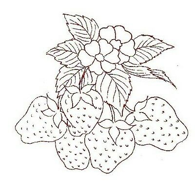 Vintage Embroidery transfer repo Fruit for Days of the Week kitchen Towels