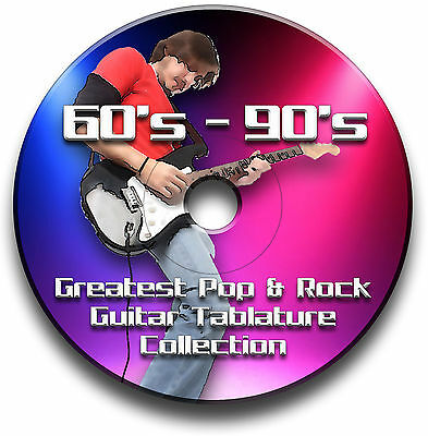 60s 70s 80s 90s 1200+ TABLATURE TABS ROCK POP GUITAR SONG BOOK CD SOFTWARE
